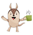 armadillo with coffee on white background vector image vector image