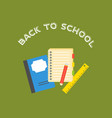 back to school poster and school supplies in flat vector image vector image