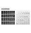 black and white domino full set vector image