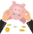 Businessman Shaking Money Coin Out of Cute Piggy vector image vector image