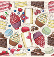 cakes and cookies seamless pattern in sketch style vector image vector image