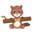 cartoon cute beaver vector image vector image