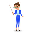 cartoon woman teacher with a pointer vector image vector image