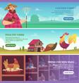 chicken farm banners farmer breeding eco domestic vector image