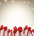 Christmas starry background with gift boxes vector image vector image