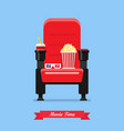 cinema seat with popcorn drink and glasses vector image vector image