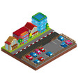 city scene with buildings and carpark in 3d design vector image vector image