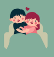 Couple Hugging on Sofa vector image