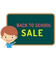 Cute cartoon boy staying near classroom vector image vector image