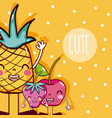 cute fruits cartoon vector image