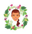 cute woman face cartoon vector image