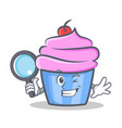 detective cupcake character cartoon style vector image vector image