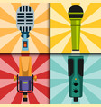 different microphones types cards journalist vector image vector image