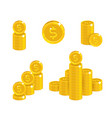 dollar coin heaps vector image vector image