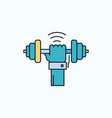 dumbbell gain lifting power sport flat icon green vector image