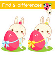 easter bunny with egg find differences vector image vector image