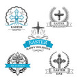 Easter holy cross with dove bird badge set vector image