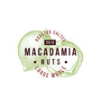 emblem with type design and hand drawn macadamia vector image vector image