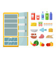 empty refrigerator and different food flat vector image