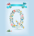 floral letter q with blue ribbon and three doves vector image vector image