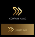 forward arrow line gold logo vector image