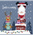 funny christmas card with santa and reindeer vector image vector image