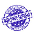 grunge textured worldwide shipment stamp seal vector image vector image