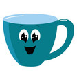 happy blue cup on white background vector image