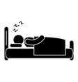 human silhouette sleeping in the bed vector image vector image