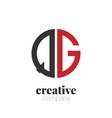 initial letter qg creative elegant circle logo vector image vector image