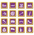 italia icons set purple vector image