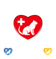 logo cat in heart cat logo abstract design vector image vector image