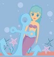 mermaid and anchor design vector image vector image