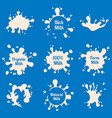 milk splashes labels farm fresh dairy vector image
