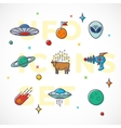 Outline Style UFO or Alien Icons Set vector image vector image