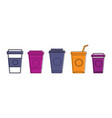 plastic cup icon set color outline style vector image vector image
