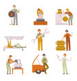 professional repairmen working in car repair vector image