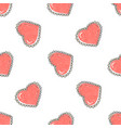 Red hearts seamless pattern hand drawn hearts in