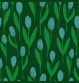 rustic seamless pattern with tulips vector image
