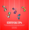 scooter sale poster with city motorbikes vector image vector image