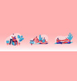 set happy couples waiting baexercising in vector image