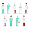 set of different types of doctors in medical vector image