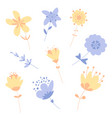 set of flowers for the spring season vector image
