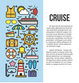 set sea cruise cartoon style on blue and white vector image vector image