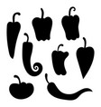 set silhouettes peppers collection vector image