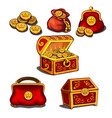 set wallets bags and a chest full gold vector image