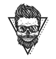 skull hipster glasses vector image vector image