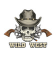 skull in cowboy hat with two revolvers vector image