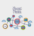 social media netword connection element vector image vector image