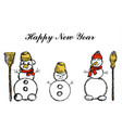 three snowmen its snowing snowflakes winter hand vector image